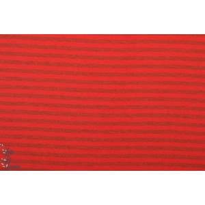 Jersey bio Rayé rouge/ gris chiné Lillestoff ( rot/grau)