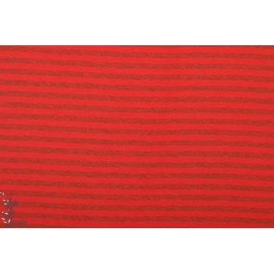 Jersey bio Rayé rouge/ gris chiné Lillestoff
