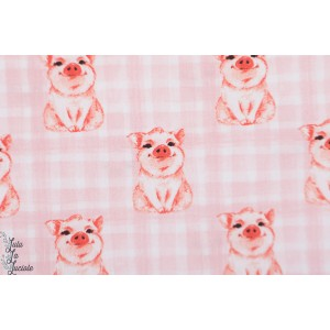 Popeline miss Piggy coton -cohon - graphique cochonou rose