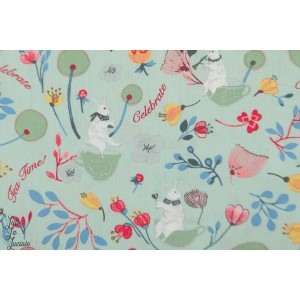 Popeline Celebrate en vert poppy lapin fleur jardin nature