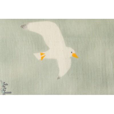 Coton Double Gaze Seagulls,mouettes,  sur fond Bleu vert, by Kokka.