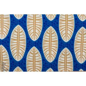 Jersey viscose Abebi Plume bleu Hambuger liebe wax afrique ama femme mode graphique