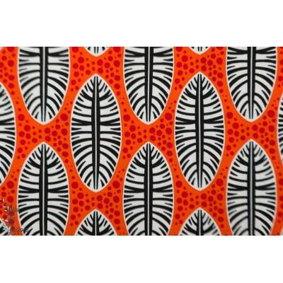 jersey viscose Abebi Plumes rouge orange Hambuger liebe wax ama afrique femme mode été couleur