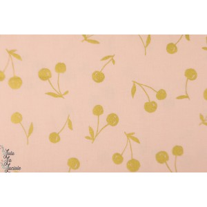 Coton Lin Golden Cherries on Pink kokka