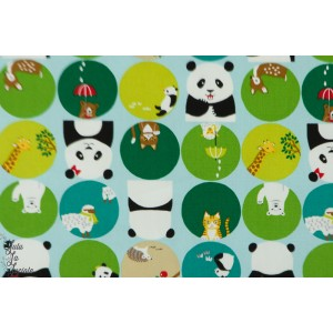oxford panda on green kokka bulle ours panda animaux vert enfant graphique