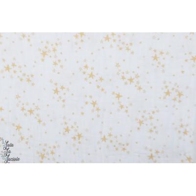 Double Gaze froissée starry blanc étoilée or