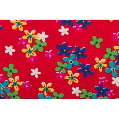Popeline Petit Pan Calamity Rouge fleur graphqiue rétro vintage