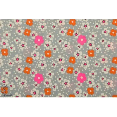 Popeline Petit Pan Fleur des iles Gris japon cerisier