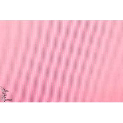 Popeline Petit Pan Rigato rose fine rayure  fluo graphique