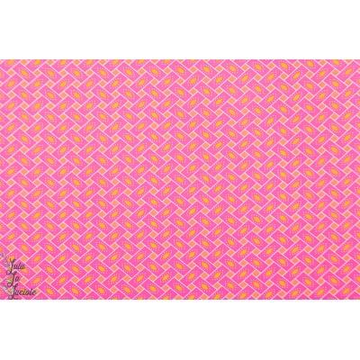 Popeline Petit Pan Citrus rose graphique rétro