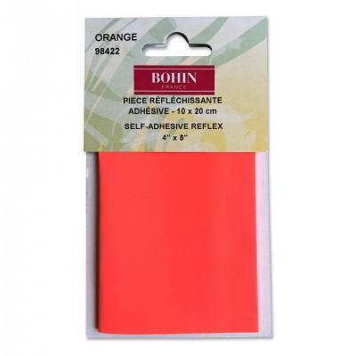 Pièce réflzchissante BOHIN 10*20cm appliqué coudre orange fluo