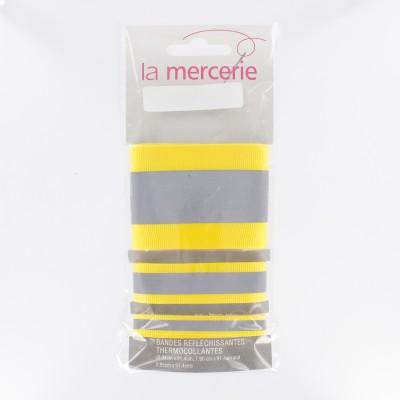 Bande réfléchissantes thermocollant jaune fluo mercerie