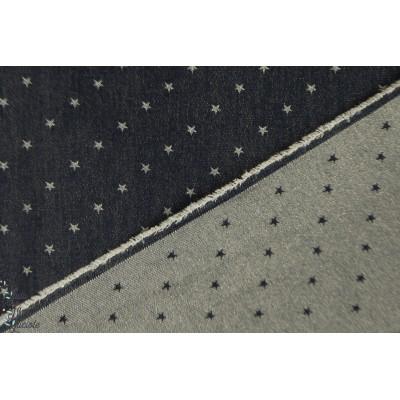 Jean Stars on Indigo bleu Kokka double face paillette femme mode étoile graphqiue
