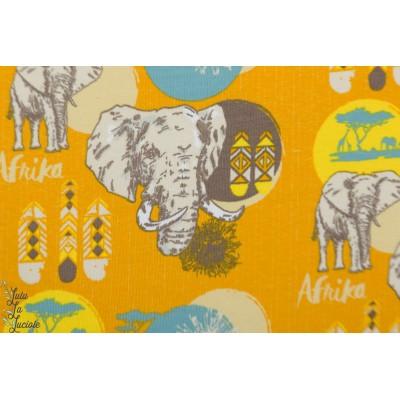 jersey Bio Lillestoff Afrika animaux éléphant jaune