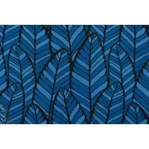 jacquard plumes wax bleu double face non strech graphique