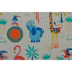 Jersey jungle Melange gris chiné jersey animaux coloré hilco enfant couture