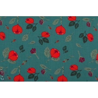 Popeline fine Bio Rosen en vert rose fluo rouge c pauli