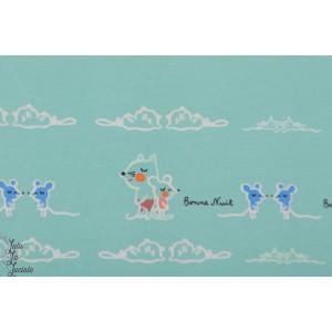 Jersey Bio Bonne nuit C.Pauli layette bébé  vert chat et souris
