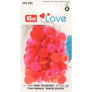 Love Boutons pressions plastique rouge et rose prym 393002