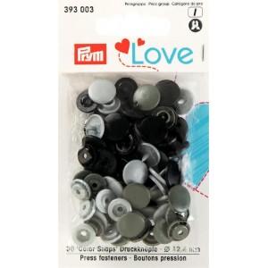 Love boutons pressions plastique gris noir Prym love 393003