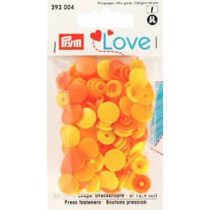 Love boutons pressions plastique jaune orange ¨Prym love