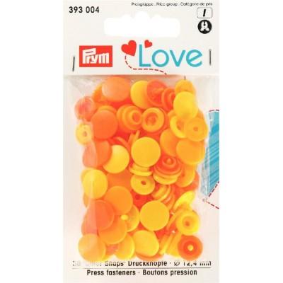 Love boutons pressions plastique jaune orange Prym love 393004