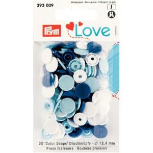 Love Boutons pressions plastique blanc bleu Love Prym 393009