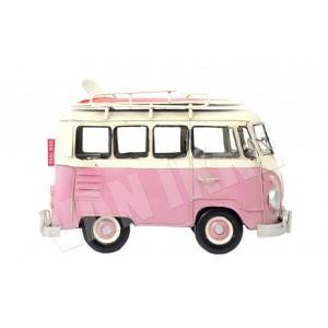 Appliqué bus rose 8*8.5 van rétro vintage