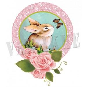 Appliqué Lapin rose 6*8cm