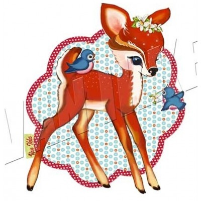 Appliqué cerfs et oiseaux  rétro vintage bambi biche faon