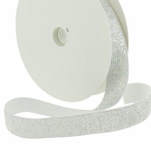 Elastique Lurex 20 mm blanc argent