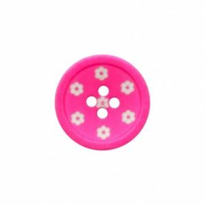 Bouton 15mm fleur rose fluo