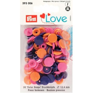 prym Love pression plastique 12mm rose orange violet 393006
