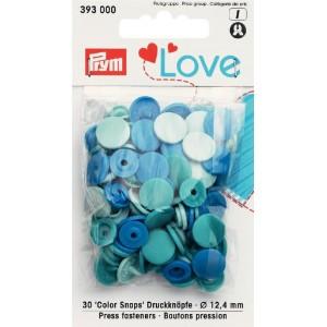 Love pression plastique bleu  12mm 393000 PRYM