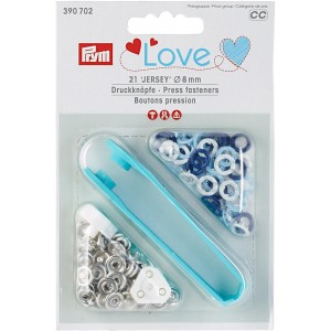 pression jersey Prym Love 390702 8mm blanc bleu marine