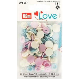 LOVE BOUTONS PRES. PLAST RO/BL.CL/P pastel prym love 12mm