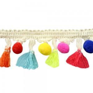 galon de pompon rond et plat coloré