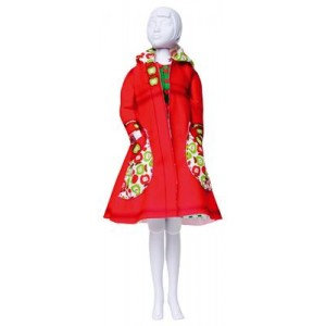 "Kit Dress your Doll ''Fanny apples"" poupée barbie habit manteau rétro rouge"