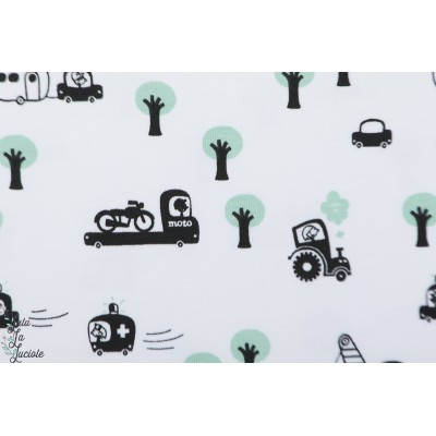 jersey bio On wheels in the wood Lillestoff graphique layette petit garçon blanc