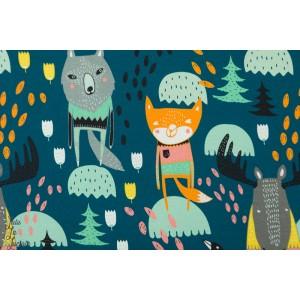 Jersey Digital Kolmen Kopla bleu nuit Verson Puoti les trois brigants animaux forêt renard cerf