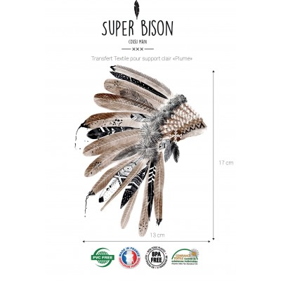 Transfert SUPER BISON Plumes, indien, customisation, thermocollant,couture, enfant,
