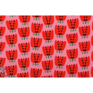 Popeline Dashwood Eden pop EPOP1325 tulipe rouge fond rose fleur jardin graphique été