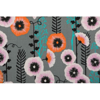 Popeline Hollyhocks Grey Cotton and Steel - Santa Fé - Sarah Watts anémone fleur