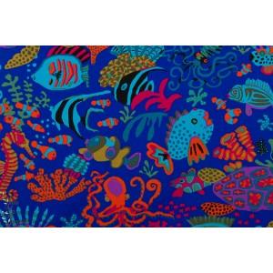 Popeline Scuba Blue Fre Spirit poisson bleu couleur mer