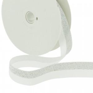 Elastique Lurex Blanc Argent 20mm