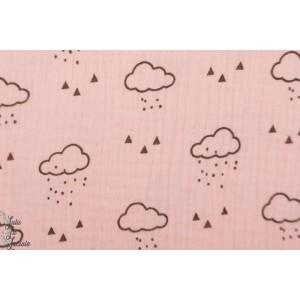 Double gaze froissée nuages rose