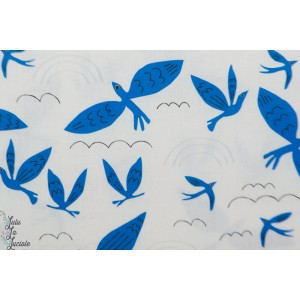 Popeline Bio Cloud- - Blue Birds Fly - No place like home