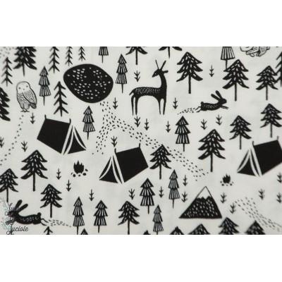 Popeline Dear Stella harvest Moon - camping montagne nuit lune noir et blanc animaux