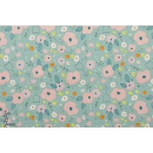 Popeline Bio Aout fleur bleu gots coton haerae design archive sarah betz