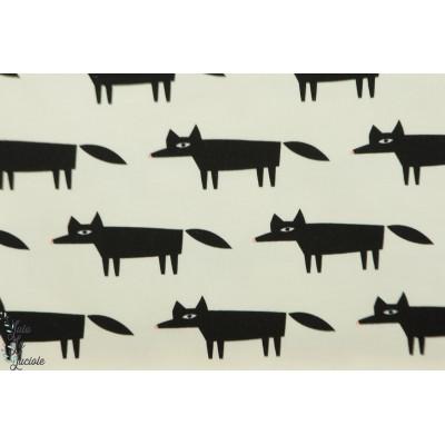 Sweat bio french terry blos Fox renard graphique noir et blanc about blue fabric